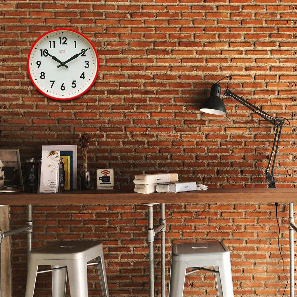 Factory Red Numbers Clock