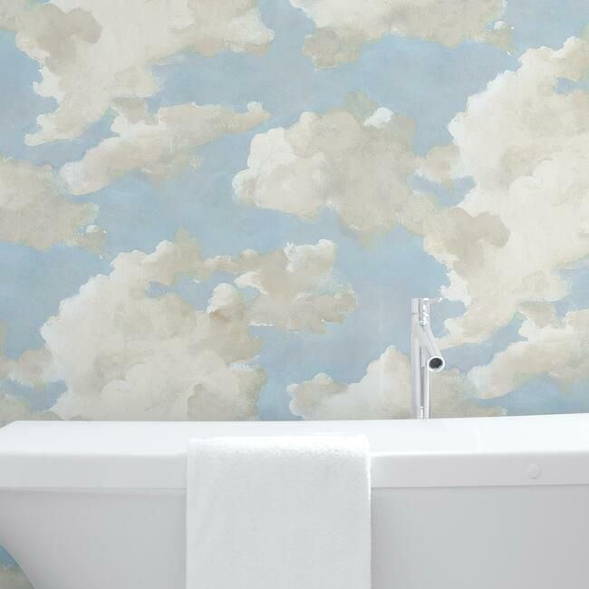Clouds On Canvas Peel Stick Wallpaper In Blue By York Wallcoverings Burke Decor