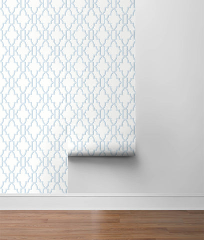 Coastal Lattice Peel-and-Stick Wallpaper in Hampton Blue from the Luxe Haven Collection by Lillian August