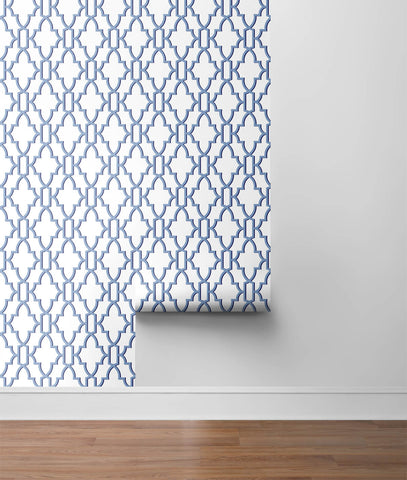 Coastal Lattice Peel-and-Stick Wallpaper in Riviera Blue from the Luxe Haven Collection by Lillian August