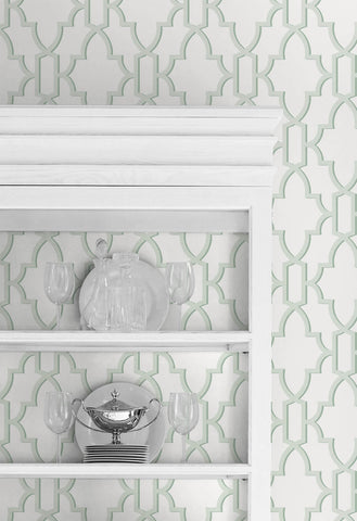 Coastal Lattice Peel-and-Stick Wallpaper in Seaglass from the Luxe Haven Collection by Lillian August