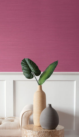 Coastal Hemp Wallpaper in Magenta from the Texture Gallery Collection by Seabrook Wallcoverings