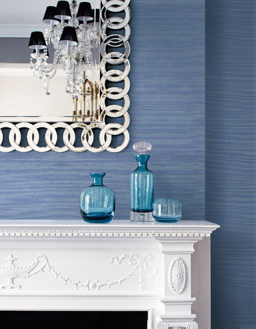 Coastal Hemp Wallpaper in Carolina Blue from the Texture Gallery Collection by Seabrook Wallcoverings