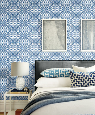 Coastal Tile Wallpaper in Coastal Blue from the Beach House Collection by Seabrook Wallcoverings