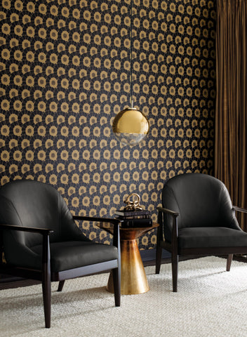 Coco Bloom Wallpaper in Black and Gold from the Deco Collection by Antonina Vella for York Wallcoverings