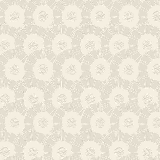 Sample Coco Bloom Wallpaper in Beige Pearlescent from the Deco Collection by Antonina Vella for York Wallcoverings