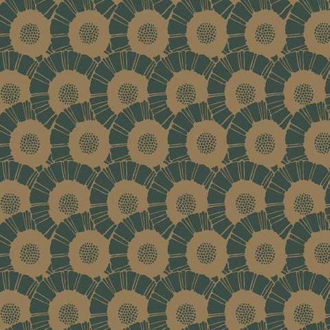 Coco Bloom Wallpaper in Gold and Green from the Deco Collection by Antonina Vella for York Wallcoverings