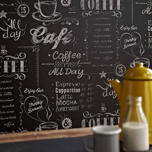 Coffee Shop Black and White Wallpaper from the Modern Living Kitchen & Bath Collection by Graham & Brown
