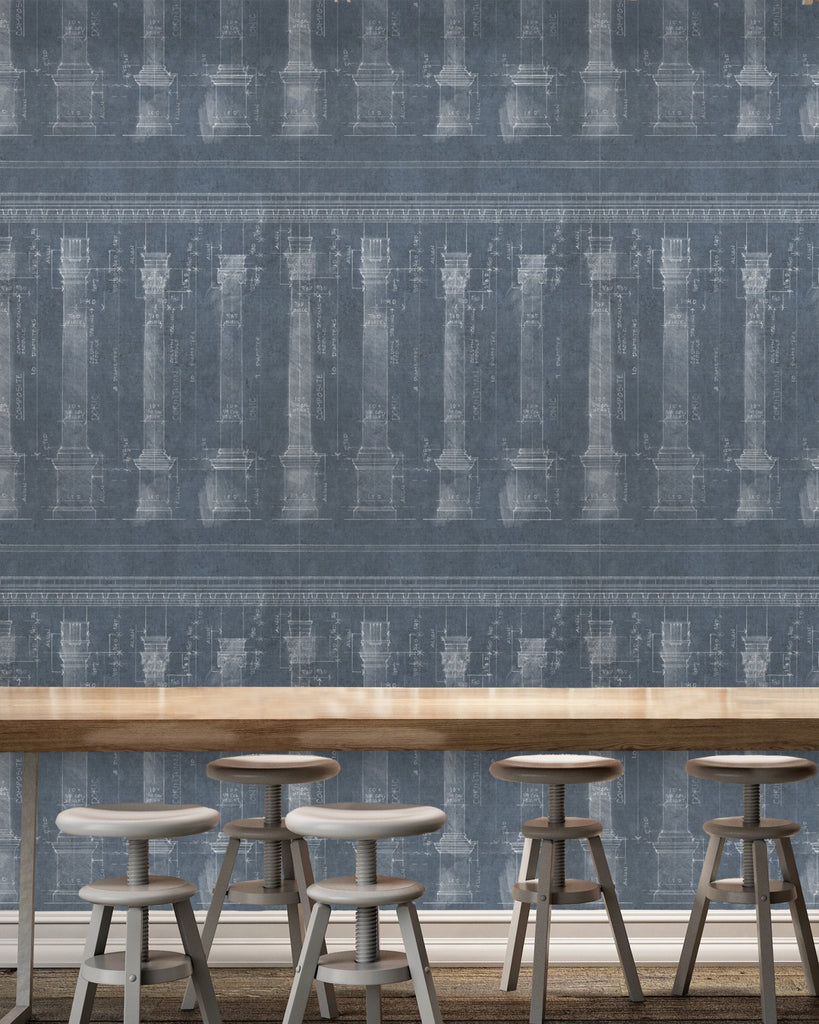 Colonnade Wallpaper in Blue from the Eclectic Collection by Mind the Gap