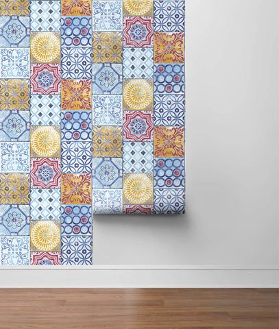Colorful Moroccan Tile Peel-and-Stick Wallpaper by NextWall