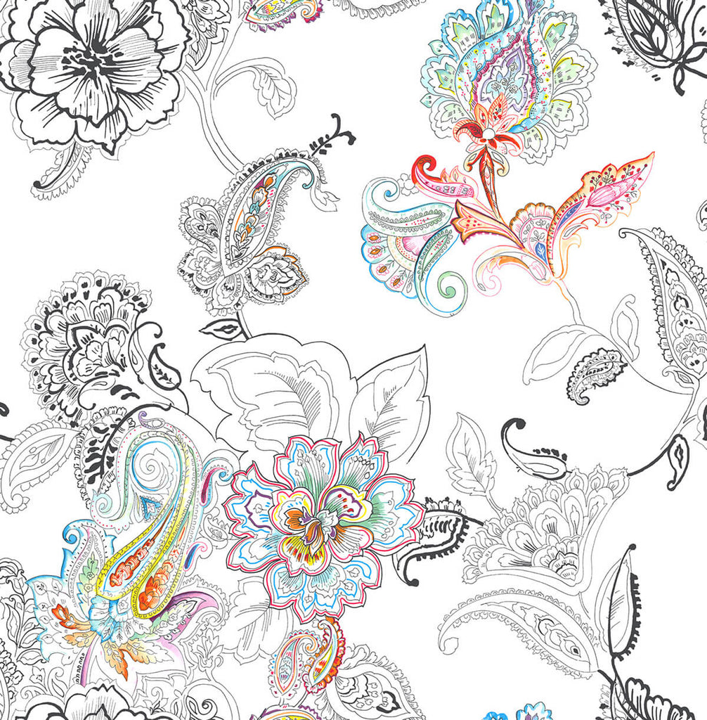 Sample Colorful Paisley Peel-and-Stick Wallpaper in Multi by NextWall