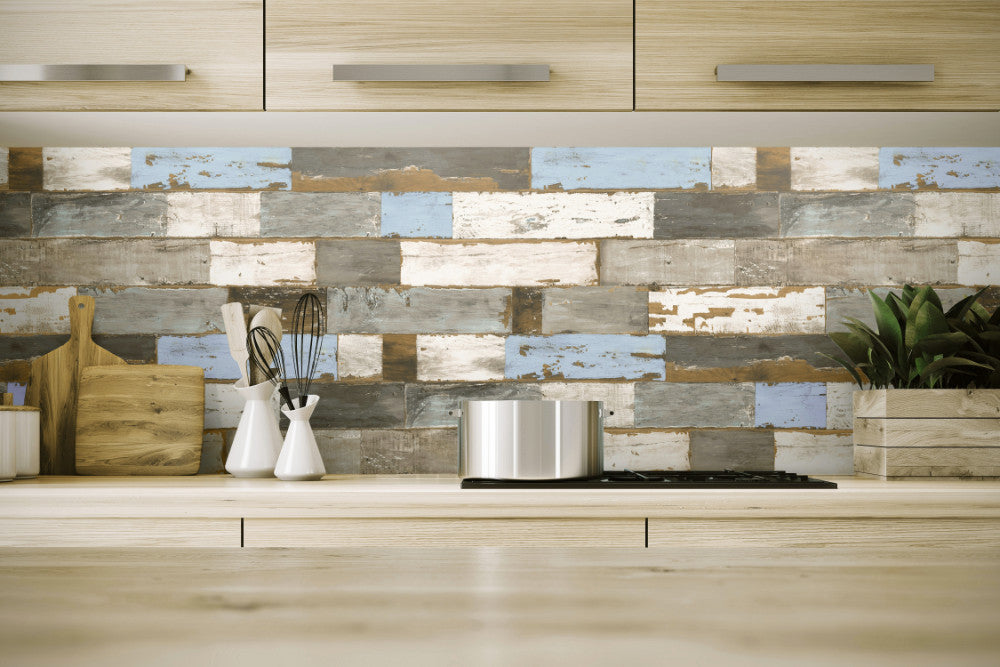 Colorful Shiplap Peel-and-Stick Wallpaper By NextWall