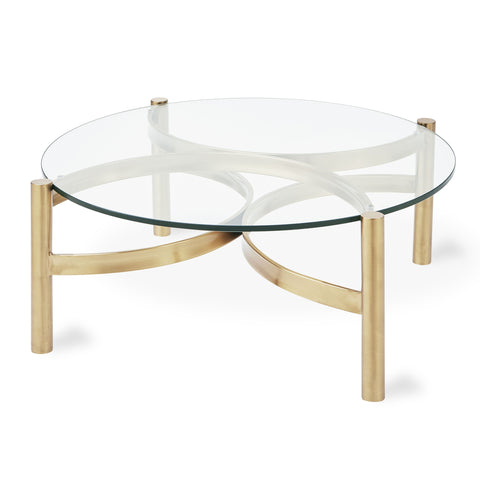 Compass Glass Coffee Table in Champagne by Gus Modern
