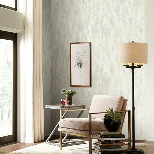 Concrete Patina Wallpaper in Grey and White by Antonina Vella for York Wallcoverings