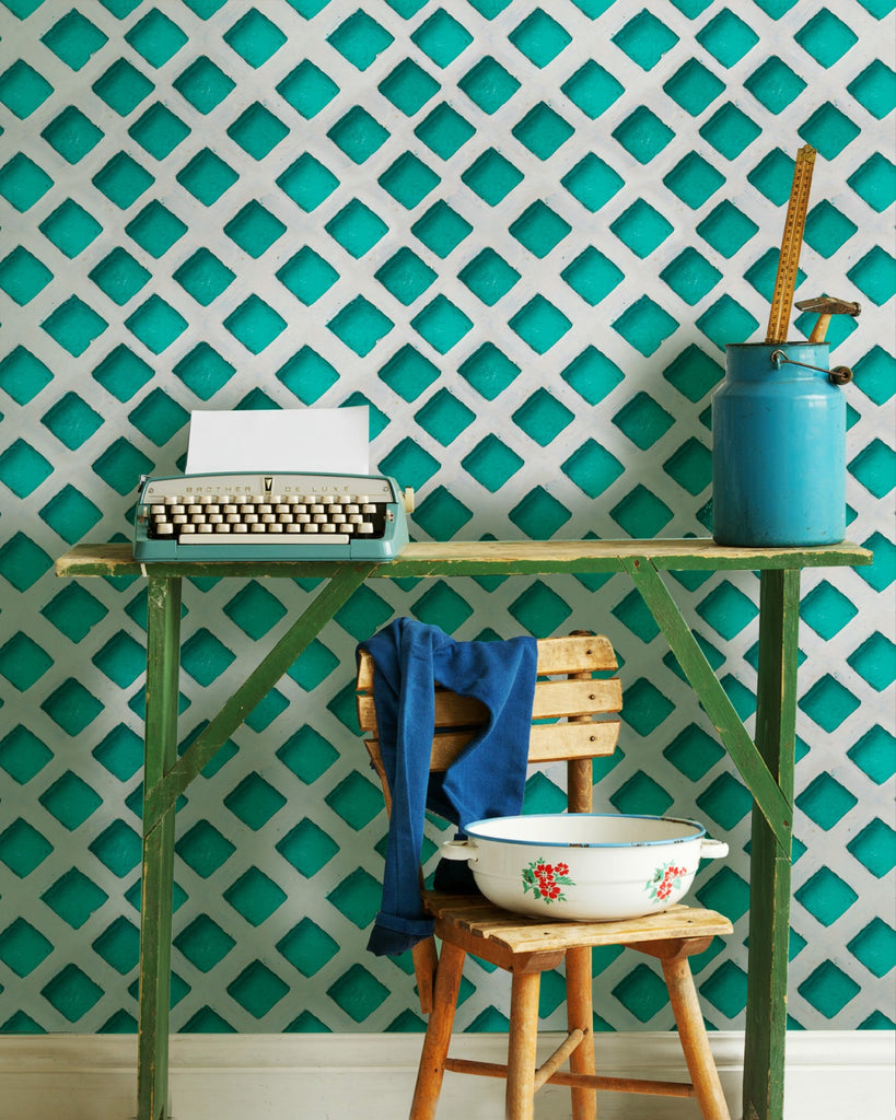 Concrete Patch Wallpaper in Turquoise and Grey from the Eclectic Collection by Mind the Gap