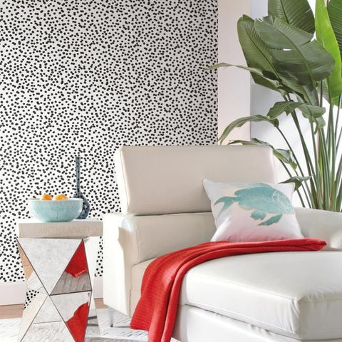 Confetti Peel & Stick Wallpaper in Black and White by RoomMates for York Wallcoverings