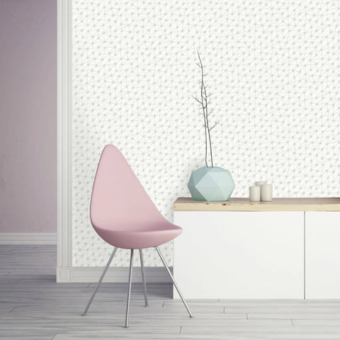 Connect Self Adhesive Wallpaper in Washed on White by Bobby Berk for Tempaper