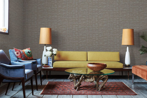 Conservation Wallpaper in Graphite from the Moderne Collection by Stacy Garcia for York Wallcoverings