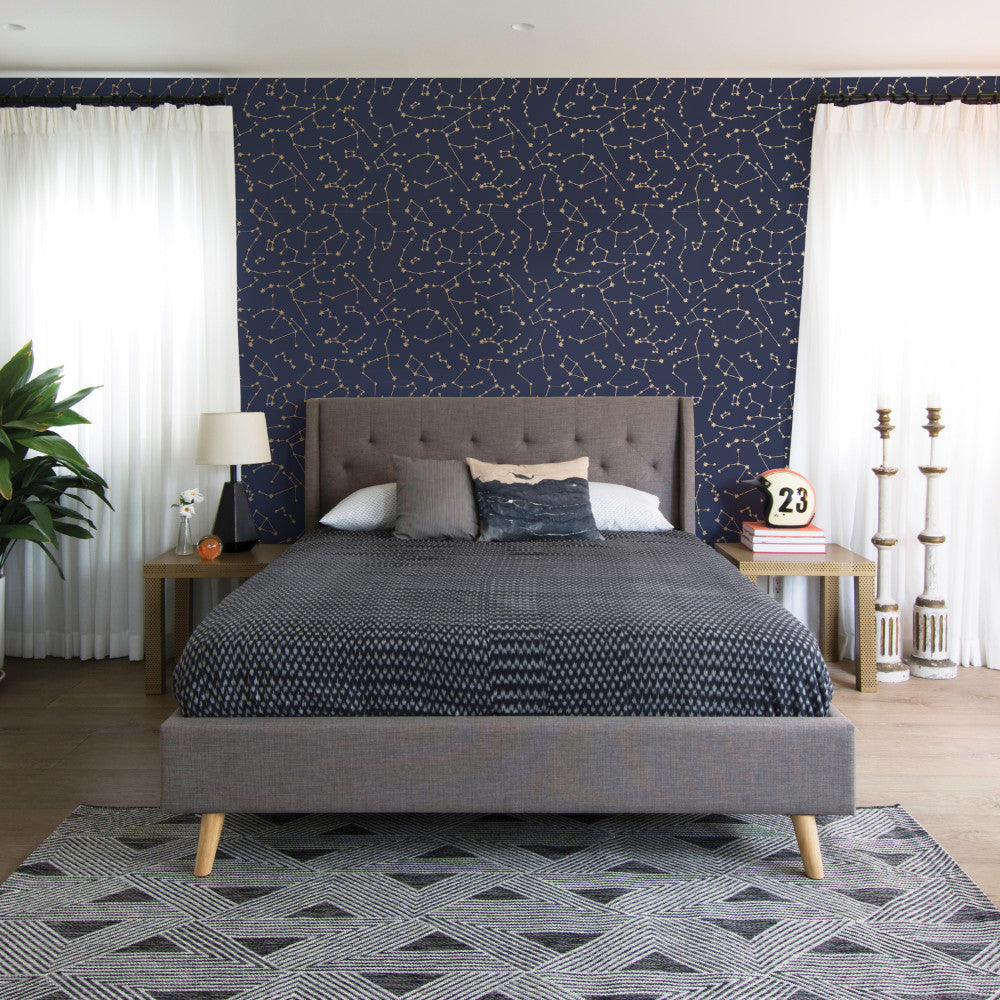 Constellations Self-Adhesive Wallpaper in Navy design by Tempaper