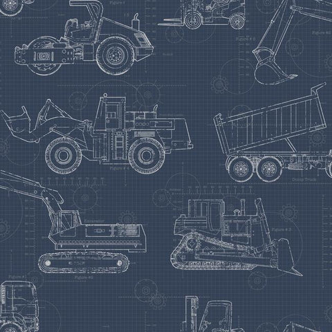 Construction Blueprint Wallpaper in Navy from the A Perfect World Collection by York Wallcoverings