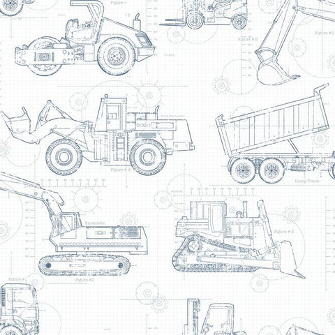 Construction Blueprint Wallpaper in White and Navy from the A Perfect World Collection by York Wallcoverings
