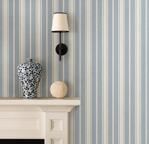 Cooper Denim Cabin Stripe Wallpaper from the Seaside Living Collection by Brewster Home Fashions