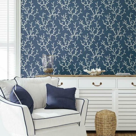 Coral Island Wallpaper in Navy from the Water's Edge Collection by York Wallcoverings