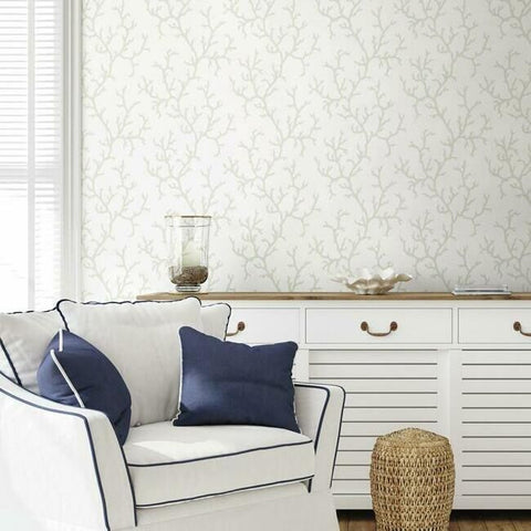 Coral Island Wallpaper in White from the Water's Edge Collection by York Wallcoverings