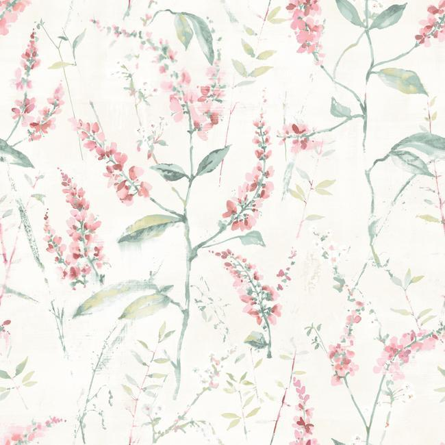 Coral Floral Sprig Peel Stick Wallpaper By Roommates For York