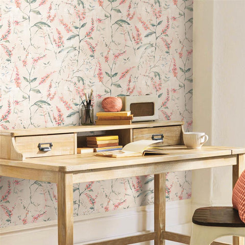 Coral Floral Sprig Peel & Stick Wallpaper by RoomMates for York Wallcoverings
