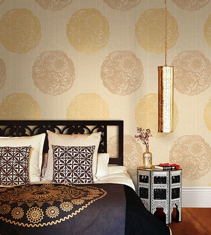 Cordova Champagne Medallion Wallpaper from the Alhambra Collection by Brewster Home Fashions