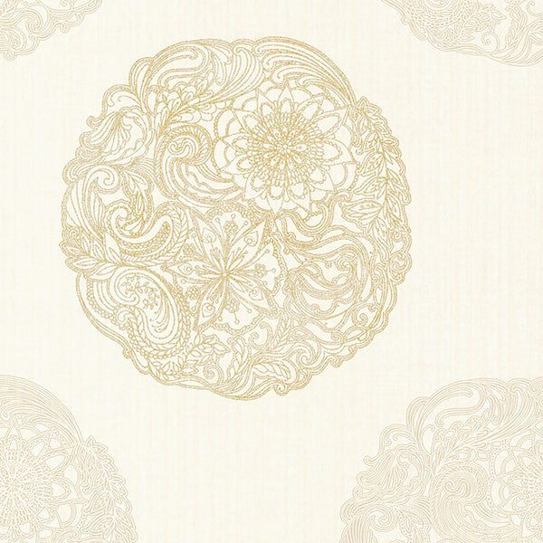 Sample Cordova Champagne Medallion Wallpaper from the Alhambra Collection by Brewster Home Fashions