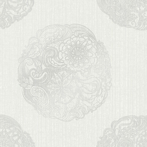 Sample Cordova Light Grey Medallion Wallpaper from the Alhambra Collection by Brewster Home Fashions