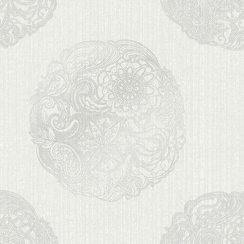 Cordova Light Grey Medallion Wallpaper from the Alhambra Collection by Brewster Home Fashions