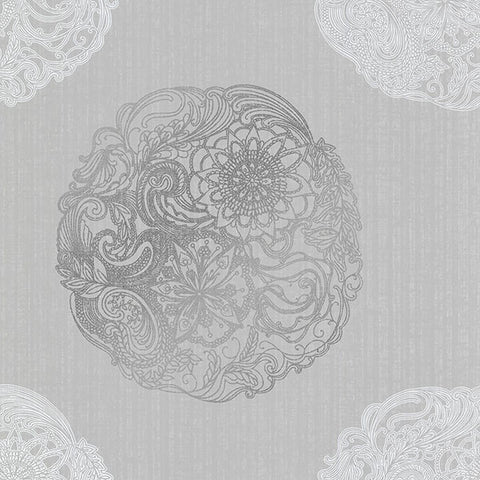 Cordova Pewter Medallion Wallpaper from the Alhambra Collection by Brewster Home Fashions