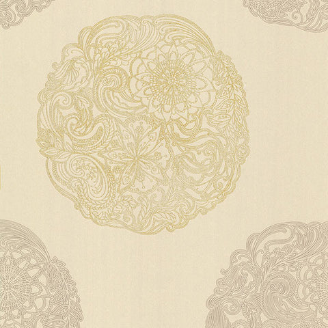 Cordova Taupe Medallion Wallpaper from the Alhambra Collection by Brewster Home Fashions