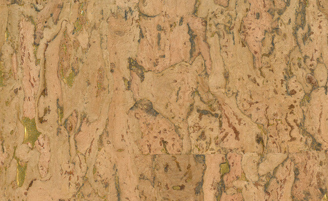 Cork Wallpaper in Brown and Gold design by Seabrook Wallcoverings