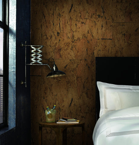 Cork Wallpaper in Browns from Industrial Interiors II by Ronald Redding for York Wallcoverings