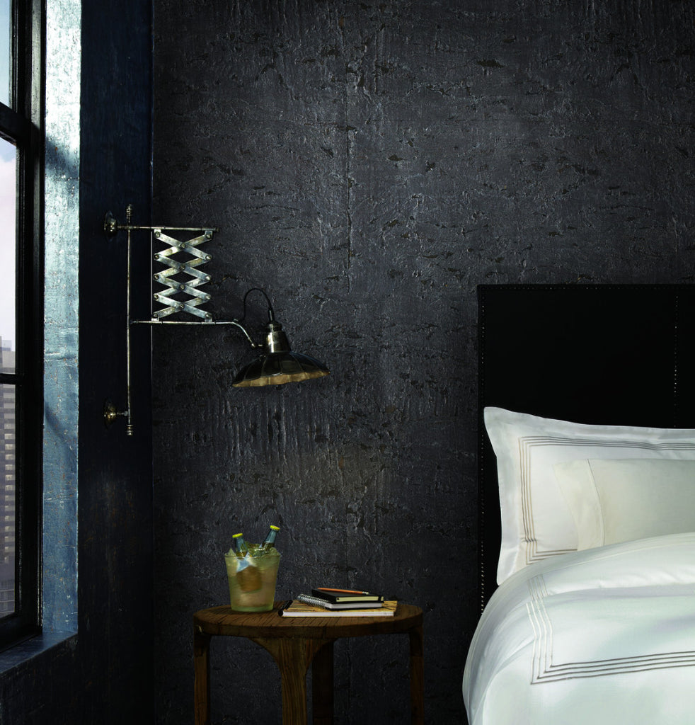 Cork Wallpaper in Silver from Industrial Interiors II by Ronald Redding for York Wallcoverings
