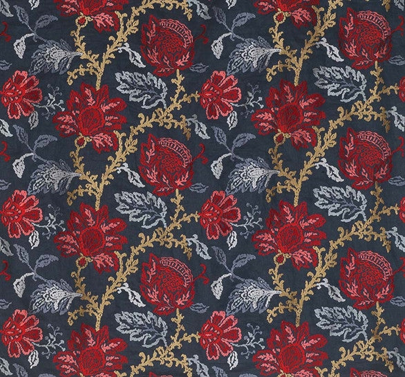 Sample Coromandel Fabric in Blue, Red, and Neutral by Nina Campbell for Osborne & Little