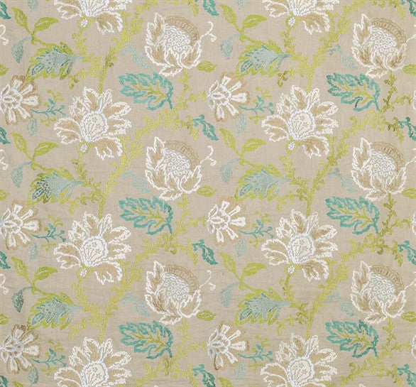 Sample Coromandel Fabric in Ivory, Green, and Aqua by Nina Campbell for Osborne & Little