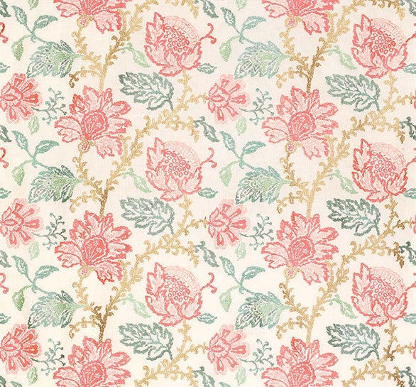 Sample Coromandel Fabric in Pink, Aqua, and Ivory by Nina Campbell for Osborne & Little
