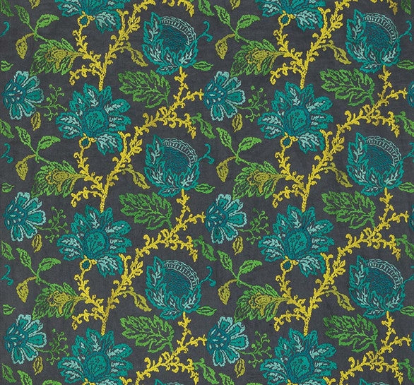 Sample Coromandel Fabric in Teal, Green, and Lime by Nina Campbell for Osborne & Little