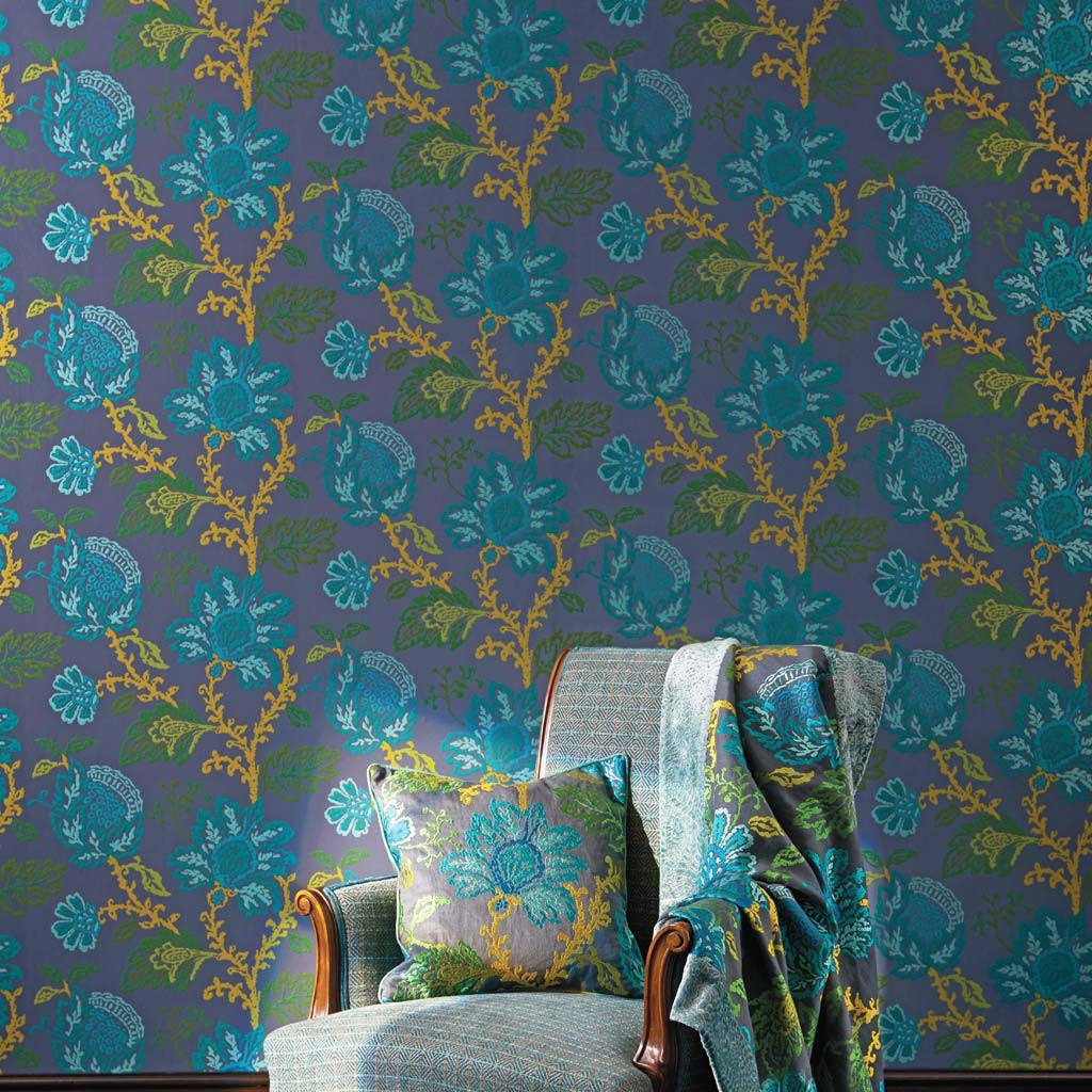 Coromandel Wallpaper in Teal, Green, and Lime by Nina Campbell for Osborne & Little