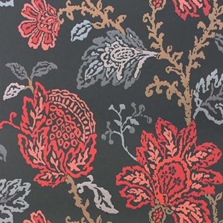 Coromandel Wallpaper in Blue, Red, and Neutral by Nina Campbell for Osborne & Little
