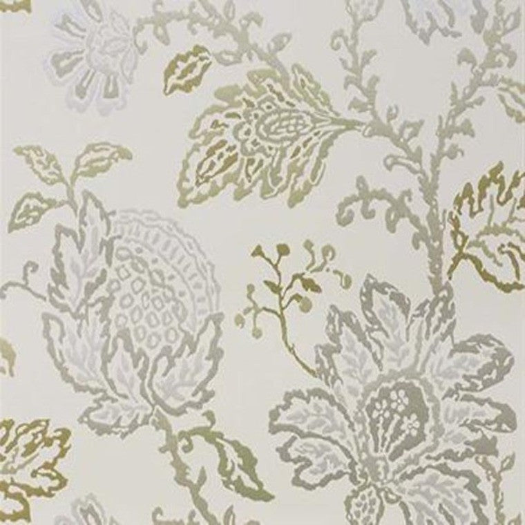 Coromandel Wallpaper in Ivory, Gold, and Silver by Nina Campbell for Osborne & Little
