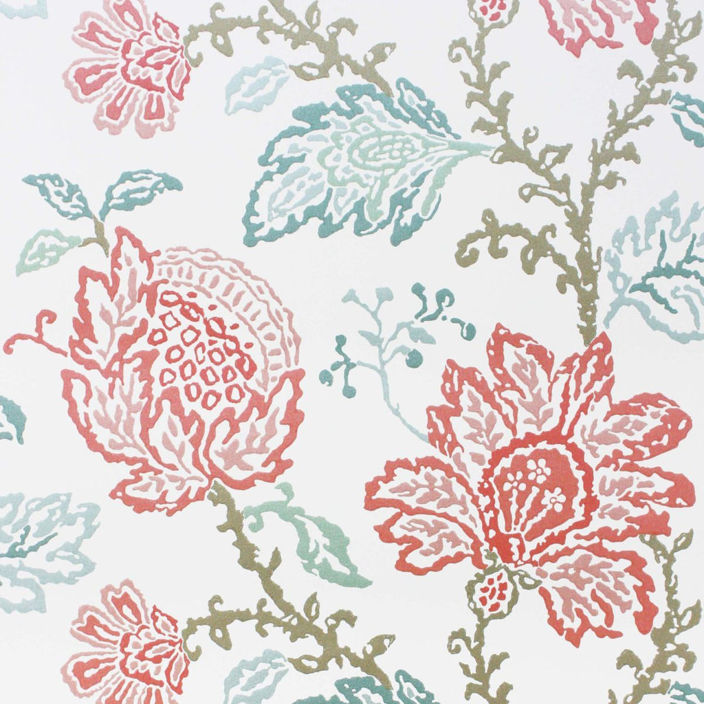 Coromandel Wallpaper in Ivory, Pink, and Aqua by Nina Campbell for Osborne & Little