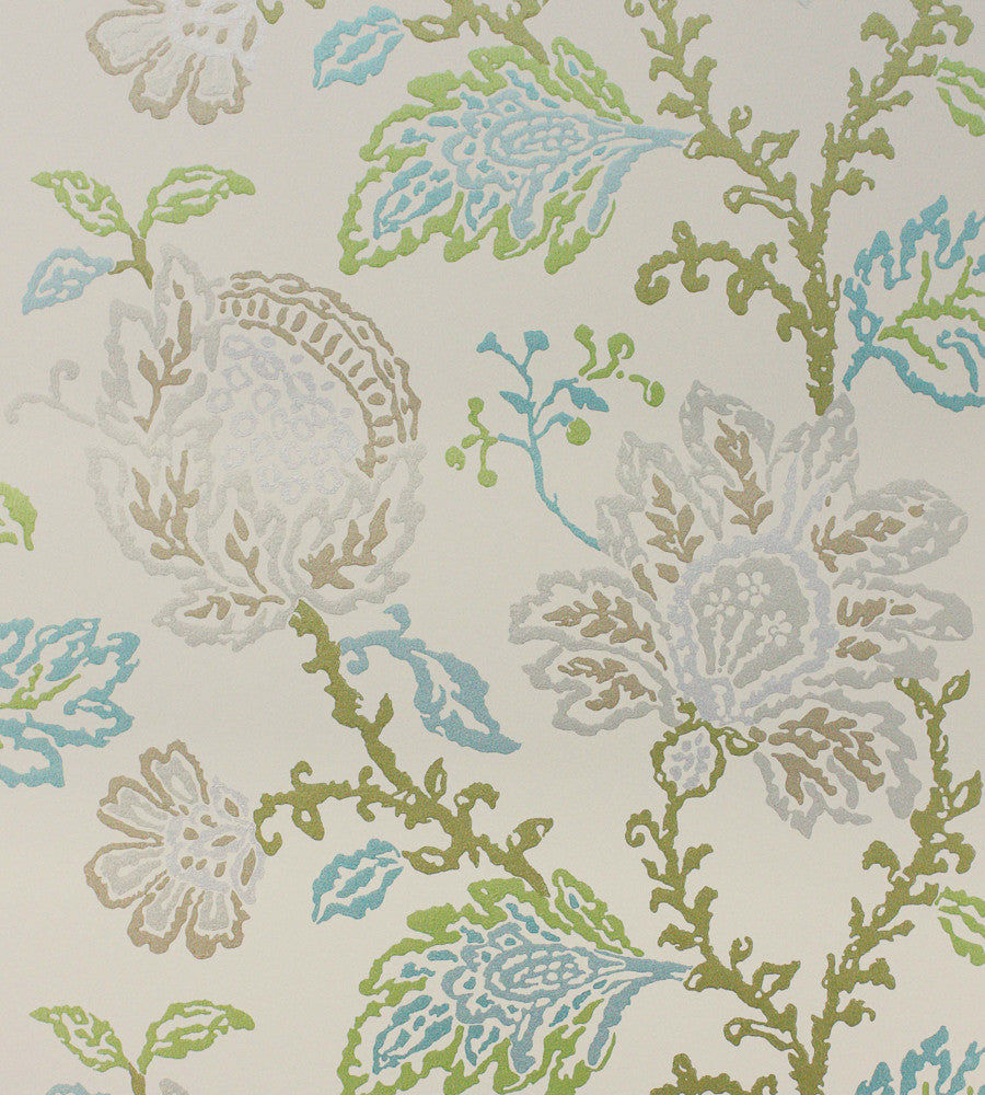 Coromandel Wallpaper in Stone, Green, and Aqua by Nina Campbell for Osborne & Little