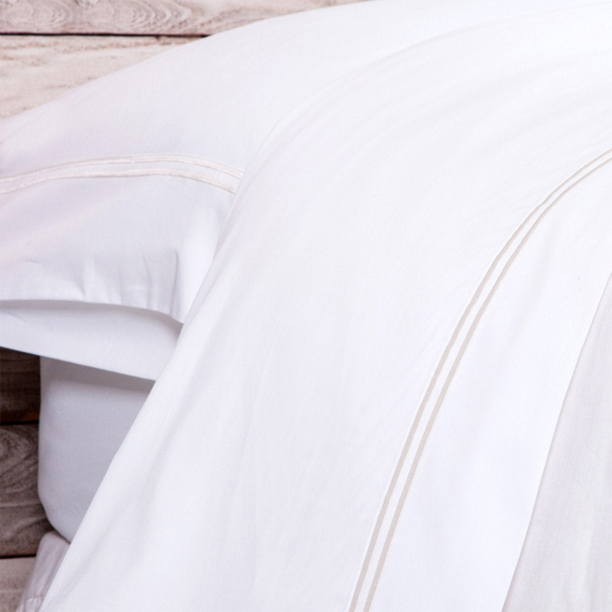 Cotton Sateen Collection in White/Taupe design by Pom Pom at Home