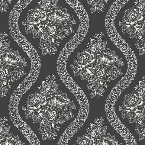 Coverlet Floral Wallpaper in Black and White from the Magnolia Home Collection by Joanna Gaines for York Wallcoverings